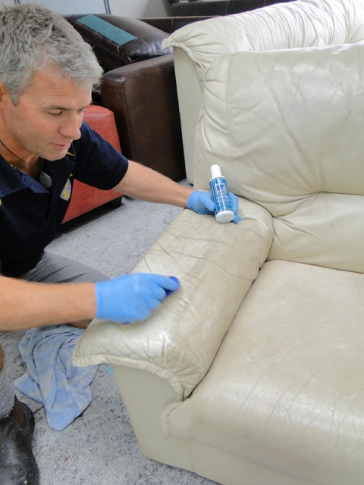 Cleaning Of Heavily Soiled Leather Armchair Using
