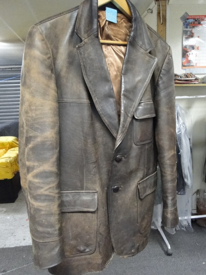 34ab7e45b Old brown leather jacket restored - Leather Repair, Care ...